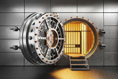 Vault bank door in storage room. 3d render Royalty Free Stock Image