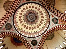 The vault of the Bayezid II Mosque 5. The Beyazidiye Camii was commissioned by Ottoman Sultan Bayezid II, and was the second large imperial mosque complex to be royalty free stock photos