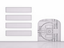 Vault Door and Banner Stripes on white, 3D Stock Photo