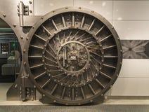 Vault door. An open steel bank vault door, a symbol of toughness royalty free stock photos