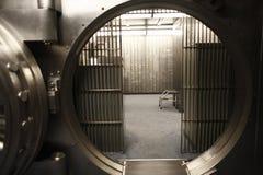 Vault doorway. The doorway of a bank vault stock photos
