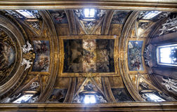 Vault of Gesù e Maria Church, Jesus and Mary. Rome, Italy. Stock Photos
