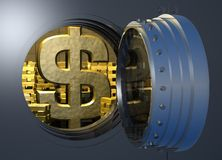Vault_gold_dollar Royalty Free Stock Photography