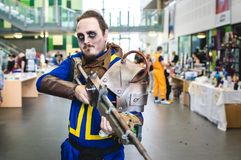 Vault Hunter from Fallout cosplay. Carlisle, UK - August 19, 2017: Cosplayer dressed as a vault hunter from the Fallout video game series at Megacon convention Stock Images