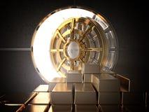 Vault and ingot. Open vault and golden ingot 3d rendering image Royalty Free Stock Images