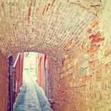 Vault. Over a Narrow Street in the Italian City of Todi, Instagram Effect Stock Photos