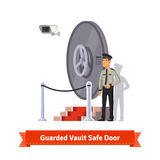 Vault safe door guarded by an officer in uniform. Vault safe door with podium and red carpet fence guarded by an officer in uniform and a security camera. Flat Stock Photography