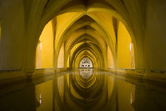 Vaulted baths, Alcazar, Seville. The baths of Dona Maria of Padilla below the main palace in Seville's Alcazar royalty free stock photo
