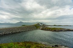 Vaulted bridge along the Atlantic road in Norway royalty free stock photography