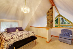 Vaulted ceiling bedroom interior upstairs Stock Photography