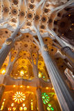 Vaulted ceiling and columns of La Sagrada Familia Stock Photo