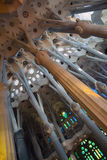 Vaulted ceiling and columns of La Sagrada Familia Stock Photography