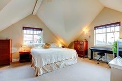 Vaulted ceiling elegant bedroom Stock Photo