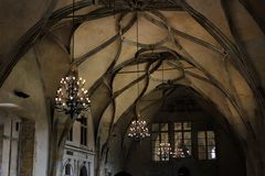Vaulted ceiling in the Gothic cathedral and the ancient elements of the decor in the medieval style. Cultural traditions. And history of architecture of Western Stock Images