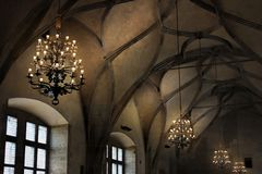 Vaulted ceiling in the Gothic cathedral and the ancient elements of the decor in the medieval style. Cultural traditions. And history of architecture of Western Stock Photos