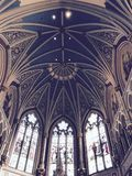 The Vaulted Ceiling of the Gothic-Revival Cathedral of Saint John the Baptist - SAVANNAH - GEORGIA. Savannah, a coastal Georgia city, is separated from South royalty free stock image