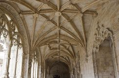 Vaulted ceiling of Interior courtyard of the Jeronimos Monastery Royalty Free Stock Photos