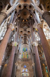 Vaulted ceiling of La Sagrada Familia Stock Images