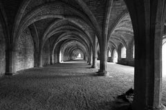 Vaulted ceilings in Fountains Abbey in North Yorks Royalty Free Stock Images