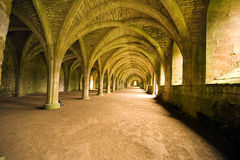 Vaulted ceilings in Fountains Abbey in North Yorks Stock Photos