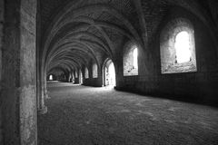 Vaulted ceilings in Fountains Abbey in North Yorks Stock Images