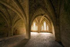 Vaulted ceilings in Fountains Abbey in North Yorks Royalty Free Stock Image