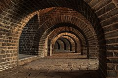 Vaulted Cellar, Tunnel, Arches Stock Photo