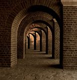 Vaulted Cellar, Tunnel, Arches Stock Image
