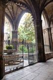 Vaulted Colonnade Ceiling at Barcelona Cathedral Stock Photos
