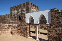 Vaulted Moorish Windows at the Castle of Silves. Vaulted Moorish Windows of the Palace of Balconies at the Castle of Silves, in the historic and beautiful city Royalty Free Stock Photography