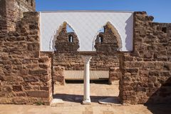 Vaulted Moorish Windows at the Castle of Silves. Vaulted Moorish Windows of the Palace of Balconies at the Castle of Silves, in the historic and beautiful city Royalty Free Stock Images