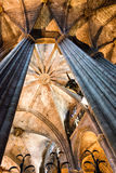 Vaulted Nave Ceiling Inside Barcelona Cathedral Stock Image