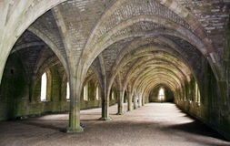 Vaulted Ruins of Fountains Abbey. The Vaulted cellar ruins at Fountains Abbey in Yorkshire Stock Photography