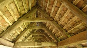 Vaulted wood ceiling of fortified church, Romania Royalty Free Stock Photos