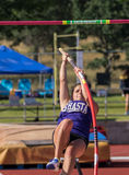 Vaulter. Track and field action at the NORCAL Championships in  Cottonwood, California Stock Image