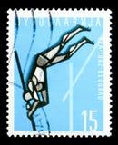 Vaulting поляка, европейское serie атлетических игр, около 1962 стоковое изображение