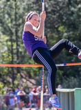 Vaulting Girl. City of Shasta Lake, California. Track and field action at the Burt Williams Track and Field Classic Stock Images