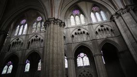 Vaults and arches of the cathedral Saint-Etienne de Bourges stock video
