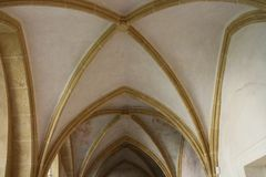 Vaults of Church of Presentation of the Blessed Virgin Mary in České Budějovice, South Bohemia. Czech republic royalty free stock photography