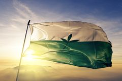 Vaupes Department of Colombia flag textile cloth fabric waving on the top sunrise mist fog. Beautiful royalty free stock photography