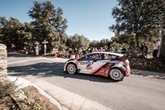 A Vauthier u. G Dini konkurrieren im 2019 WRC-Ausflug de Corse stockbild