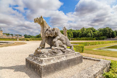Vaux-le-Vicomte, France. Ancient sculptures in the park Stock Photo