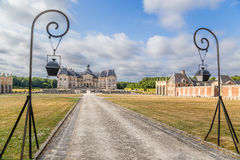 Vaux-le-Vicomte, France. Central alley, decorative lights. Vaux-le-Vicomte - classic French manor-palace of of the XVII century, situated 55 km south-east of Stock Photography