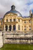 Vaux-le-Vicomte, France. The central part of the facade of the main building Stock Photo