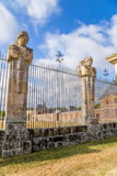 Vaux-le-Vicomte, France. The fence of the estate with sculpted figures Stock Photos