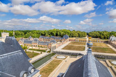 Vaux-le-Vicomte, France. Fragment of the manor and the roof of the main building Stock Photo