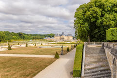 Vaux-le-Vicomte, France. The park and the main building Royalty Free Stock Photo