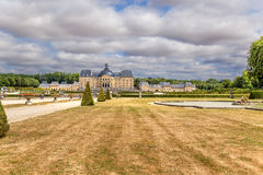 Vaux-le-Vicomte, France. A scenic view of the park and the main building of the manor Royalty Free Stock Photo