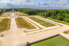 Vaux-le-Vicomte, France. View of the park, built by landscape architect Andre Le Notre Stock Images