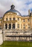 Vaux-le-Vicomte Frankrike Den centrala delen av fasaden av huvudbyggnaden Arkivfoto